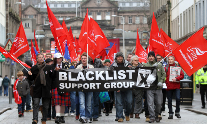 Unite members protested against blacklisting of construction workers in Dundee.