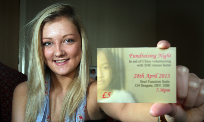 Chloe Miller-Kelly is trying to raise funds for a trip to help victims of human trafficking in Cambodia.