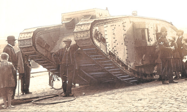 The tank arrives in Dundee. This photograph was found in the First World War time capsule put together by the citys postal workers which was opened in August last year.