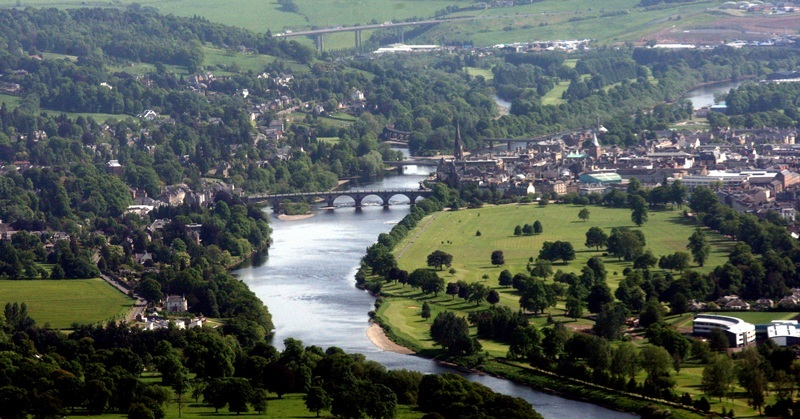Aerial view of Perth.   Pictured, a view of Perth with the new St Johns Acadmey bottom right, leading on to the North Inch and the Perth Bridges: Perth Bridge, Queens Bridge, Perth Rail Bridge and in the distance, Friarton Bridge.
