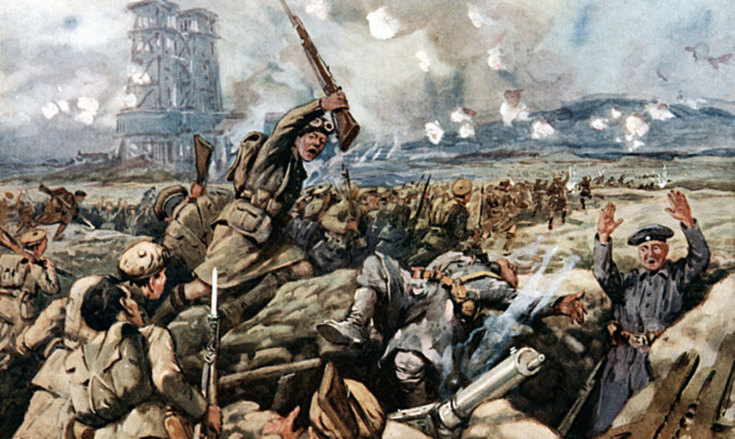 An illustration of the Battle of Loos.