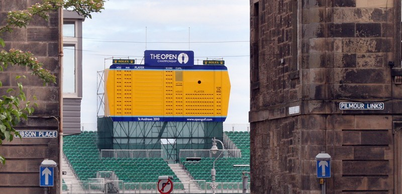 St Andrews Old Course. Leaderboard visible down Granny Clarks, The Open is on it's way. In one months time some of the worlds most famous golfers will be in town, fighting it out for the Claret Jug.