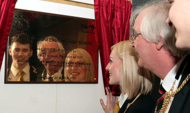 (From left) Head Boy Alexander Johnstone, Provost of Fife Jim Leishman, and Head Girl Amber Russell.