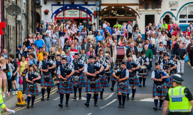 Burntisland Pipe Band parading at the start of last years Highland games in the town.