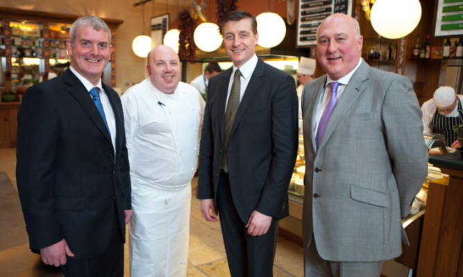 Gary Connacher (Simon Howie Butchers), Gleneagles executive head chef Alan Gibb, Alan Hill and Simon Howie. The breed book aims to give diners in Gleneagles Deseo restaurant the chance to learn more about the characteristic flavours of Scotch Beef.