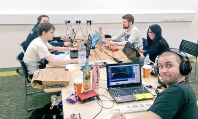 Some of the participants in this years Global Game Jam at Abertay University. In all around 150 students and lecturers, as well as industry professionals, collaborated to design new video games.