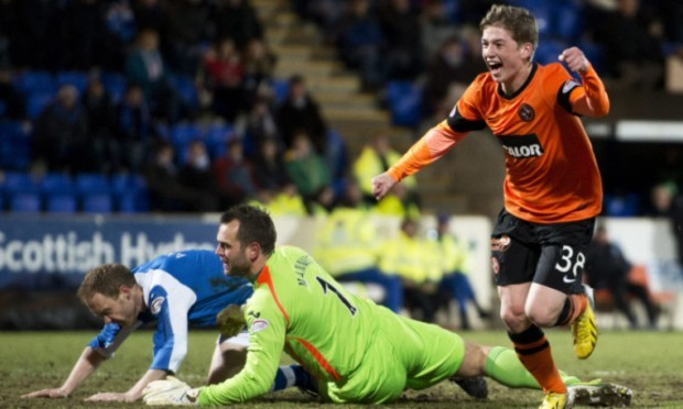 Dundee Utd youngster Ryan Gauld celebrates after opening the scoring.