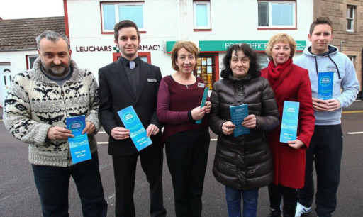 From left: Peter Borella of the Aero Cafe, Joe Grady of Leuchars Pharmacy, Mary Thiesen of Leuchars Post Office, Loretta Borella, Councillor Lesley Laird and William Richmond of Richmond Sport.