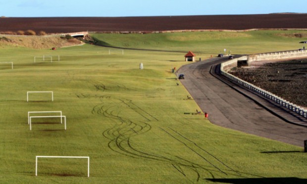 cars have been driven at speed at Victoria Park in Arbroath.