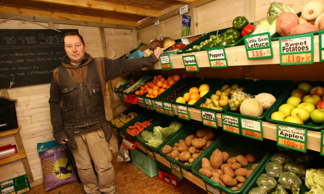 Clem with some of the vegetables he will be selling through his honesty shed.