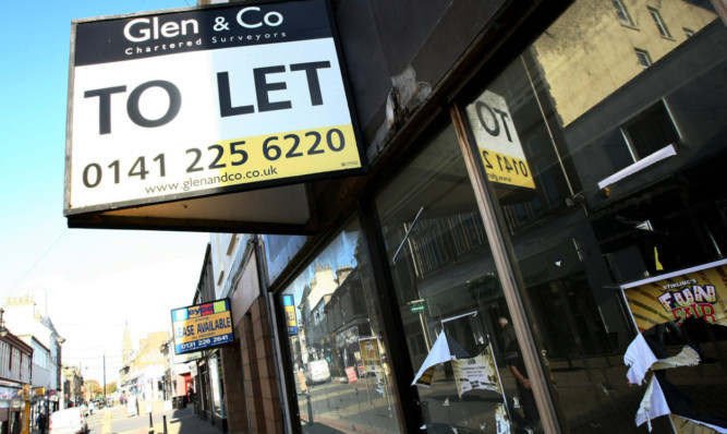 A row of vacant shops in Leven.