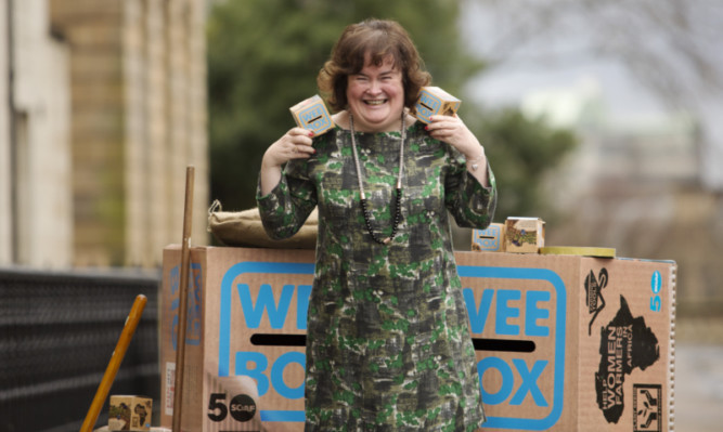 Susan Boyle at the launch of the SCIAF Wee Box campaign.