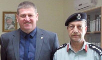 Jim Malone with Brigadier Fayez of the Palestinian Authority Civil Defence Fire and Rescue Service.