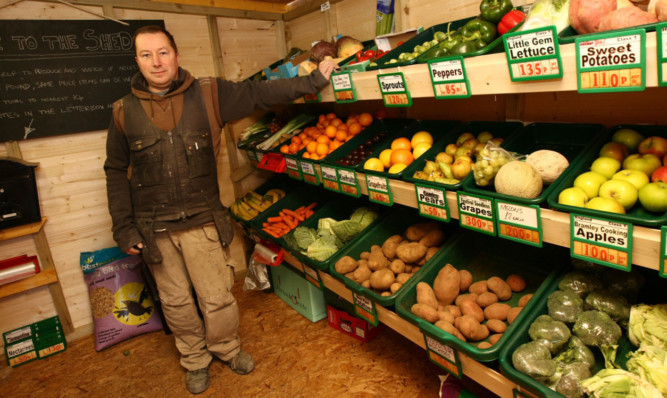 Vegging out: Clem Green in his shed in Crail.