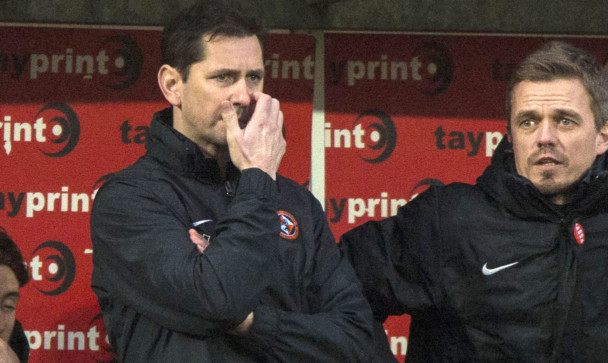 Dundee United manager Jackie McNamara (left) and assistant Simon Donnelly.