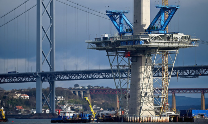 Construction continuing on the Queensferry Crossing.