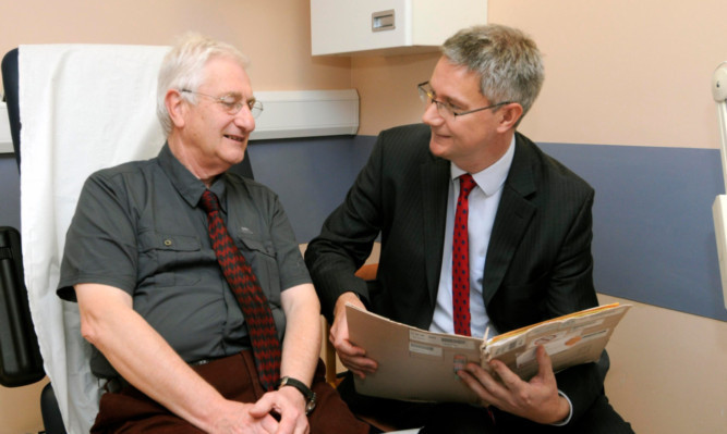 Michael Archibald (left) with Professor Andrew Morris at the Strathmore Diabetes Centre.