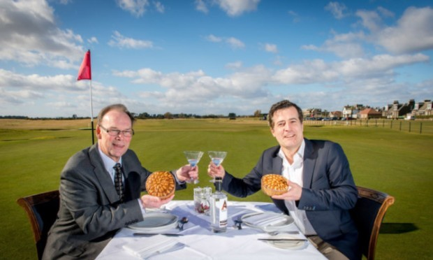 Iain Stirling, right, from Arbikie Vodka and Ronald Shand from Goodfellow and Steven at Carnoustie Golf Club to promote the food and drink event at the Carnoustie Golf Hotel.