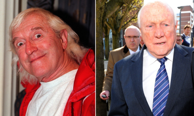 The report into abuse by BBC presenters Jimmy Savile (left) and Stuart Hall is expected in the second half of May.