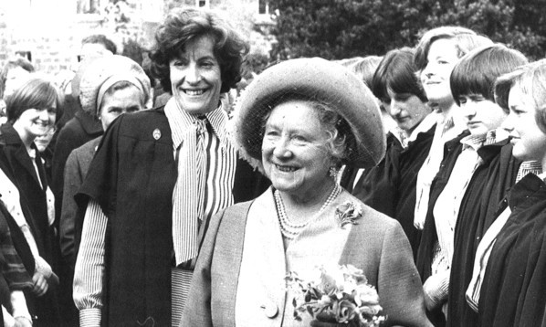 Mrs Steedman with the Queen Mother on  a visit to the school.