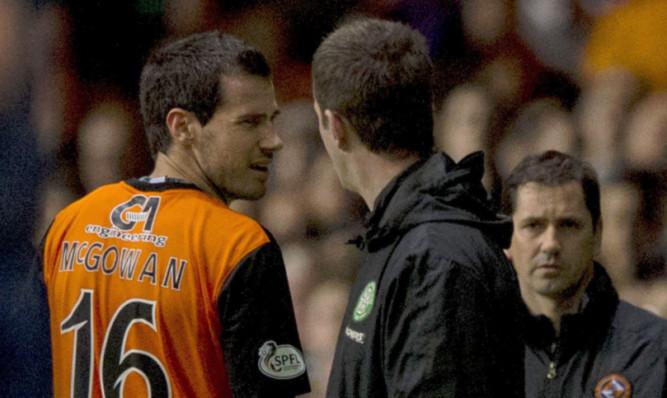 Celtic Manager Ronny Deila confronts Ryan McGowan at Parkhead.