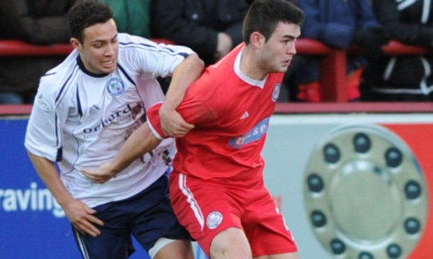 James Dale (Forfar) and Steven Jackson (Brechin) in a previous Angus derby.