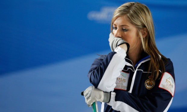 Eve Muirhead during the match against Russia.