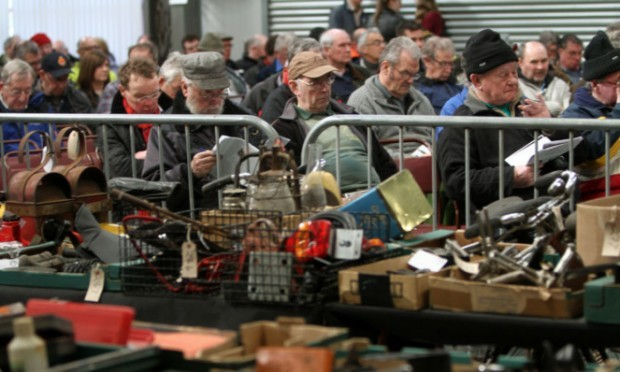 Some of the bargain hunters at the Scottish Vintage Vehicle Club auction.