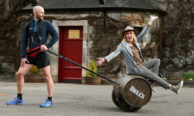 Joanna Lumley with Rob Edmond at Blair Athol Distillery.