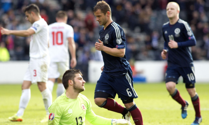 Scotland's Shaun Maloney celebrates his second goal.