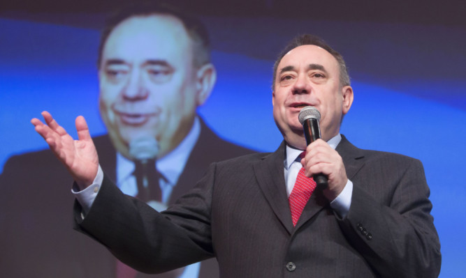 Alex Salmond addressing the SNP conference at the SECC in Glasgow.