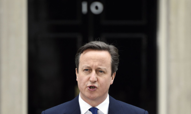 David Cameron speaks to the media after meeting the Queen ot request the dissolution of parliament.