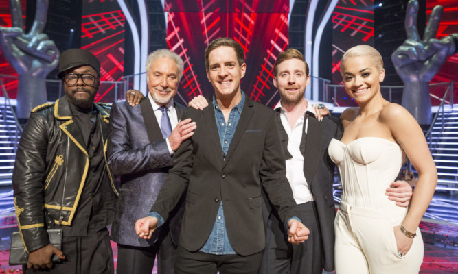 Stevie McCrorie, centre, with Will.i.am, Sir Tom Jones, Ricky Wilson and Rita Ora.