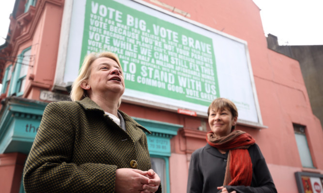 Green Party leader Natalie Bennett (left) with Brighton Pavilion parliamentary candidate Caroline Lucas during the launch of the Green Party billboard campaign in Brighton.