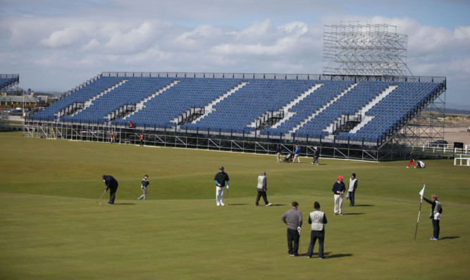 The stands are already taking shape overlooking the 1st and 18th holes on the Old Course.