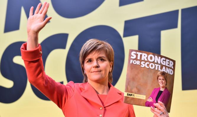 SNP leader Nicola Sturgeon launches her partys manifesto at Edinburgh International Climbing Arena.