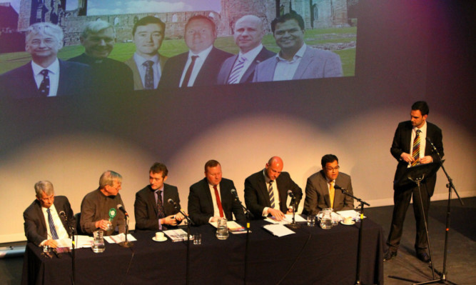 The panel of candidates at last nights hustings with Courier political editor Kieran Andrews.