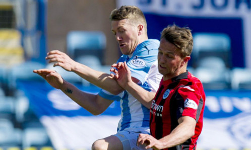 Dundee's Jim McAlister (left) challenges Chris Millar.