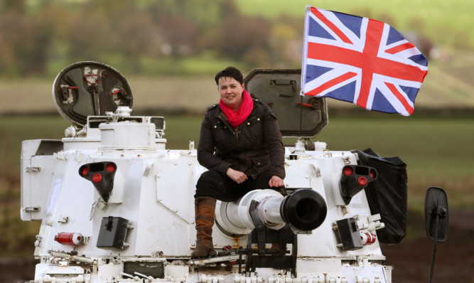 Scottish Conservative Leader Ruth Davidson before she drives a tank at Auchterhouse Country Sports as she takes her General Election campaign to Tayside.