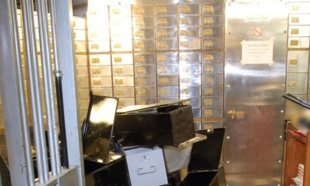 The inside of the vault at the Hatton Garden Safe Deposit company which was robbed over the Easter weekend.