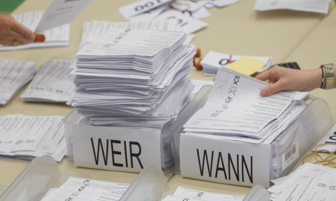 The picture tells a story in Angus as piles of ballot papers grow.