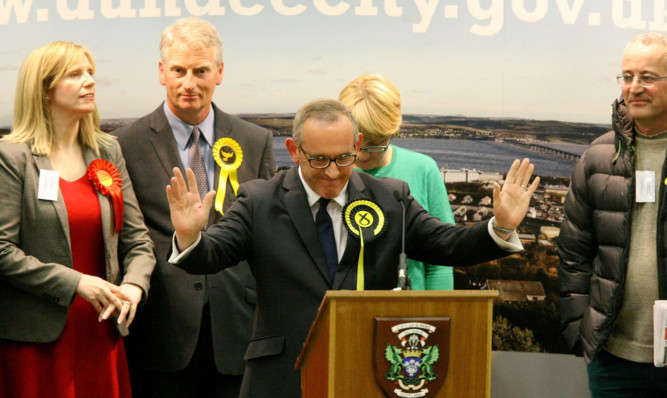 Stewart Hosie soaks up the applause.