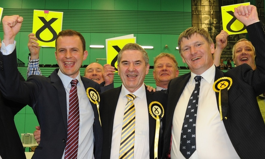 UK Parliamentary General Elections. Micheal Woods Sports centre Glenrothes 7 May 15 winners  Seat Stephen Gethins, Goger Mullin,Peter Grant SNP