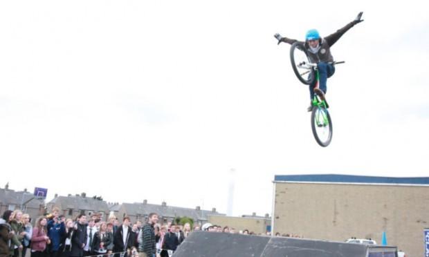 Danny Stewart shows off his acrobatic skills.