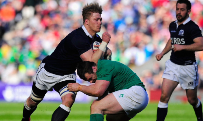 David Denton in action for Scotland against Ireland in March.