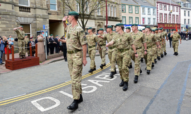 Royal Marines from 45 Commando during a parade last year in Arbroath.