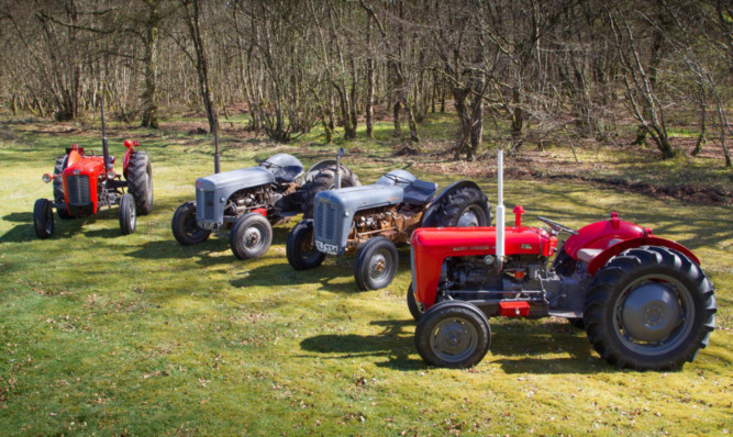 Some of the tractors being driven in the event.