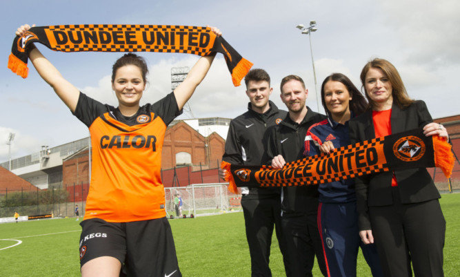 Dundee United player Steph Thompson, John Souttar, Dundee United Community Manager Gordon Grady, Scottish FA Development Officer Sam Milne and Director Justine Mitchell attend the GA Engineering Arena in connection with the launch of the Dundee United FC Womens Football Team