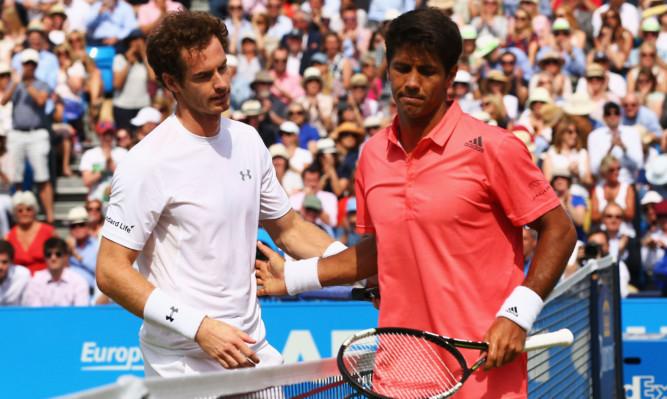 Andy Murray celebrates victory over Fernando Verdasco.