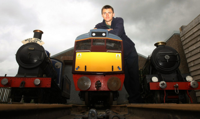 John Kerr with his new engine at the Arbroath attraction.
